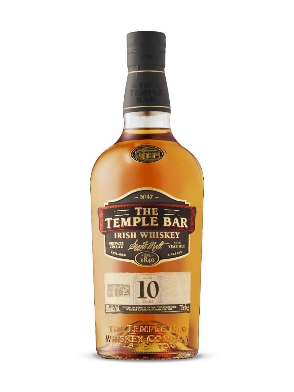 Whiskey irlandais Single Malt The Temple Bar 10 ans d'âge