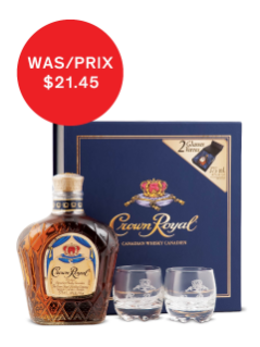 Whisky Crown Royal (avec 2 verres)