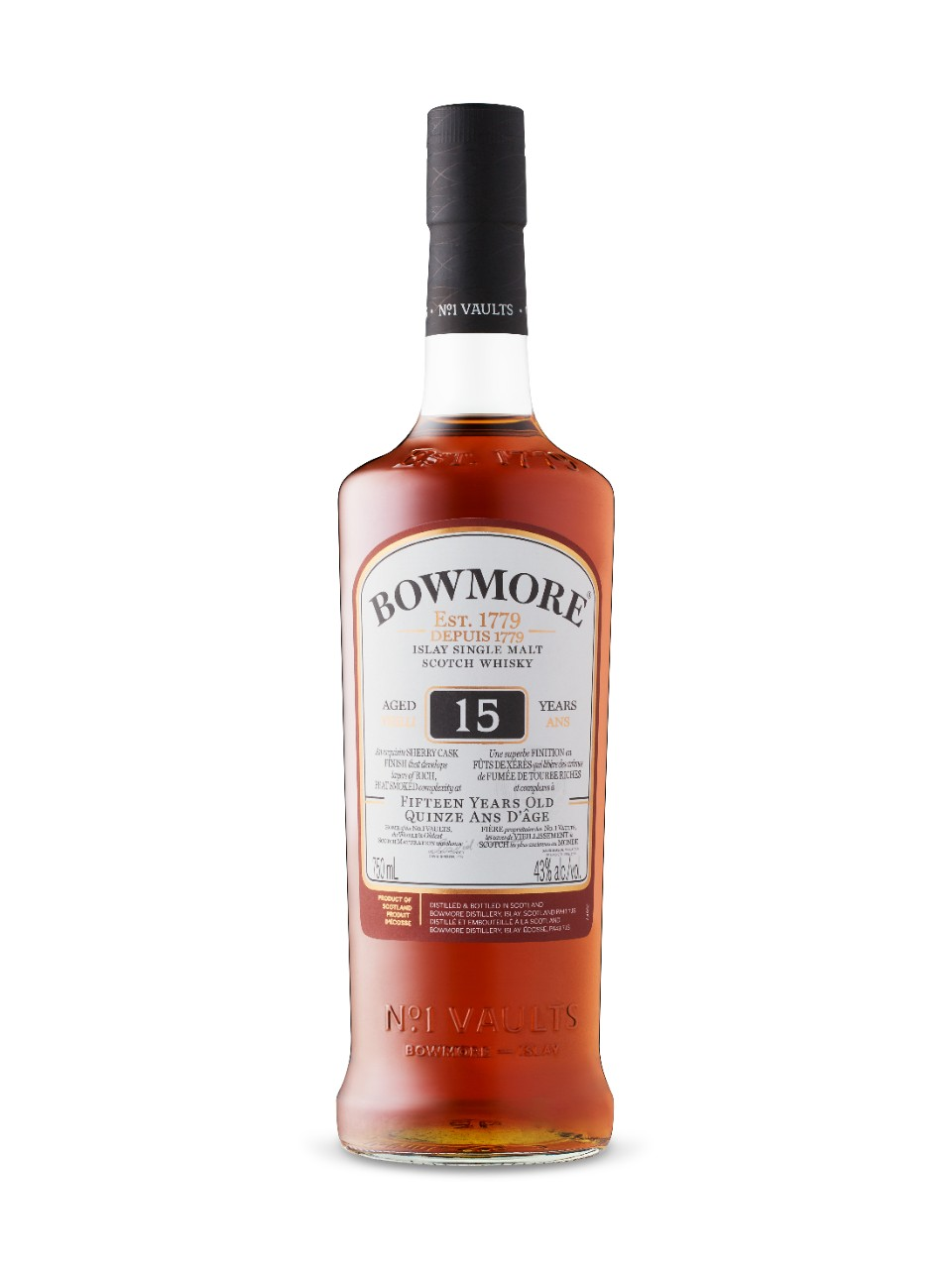 Whisky écossais Single Malt d'Islay Bowmore Darkest 15 ans d'âge