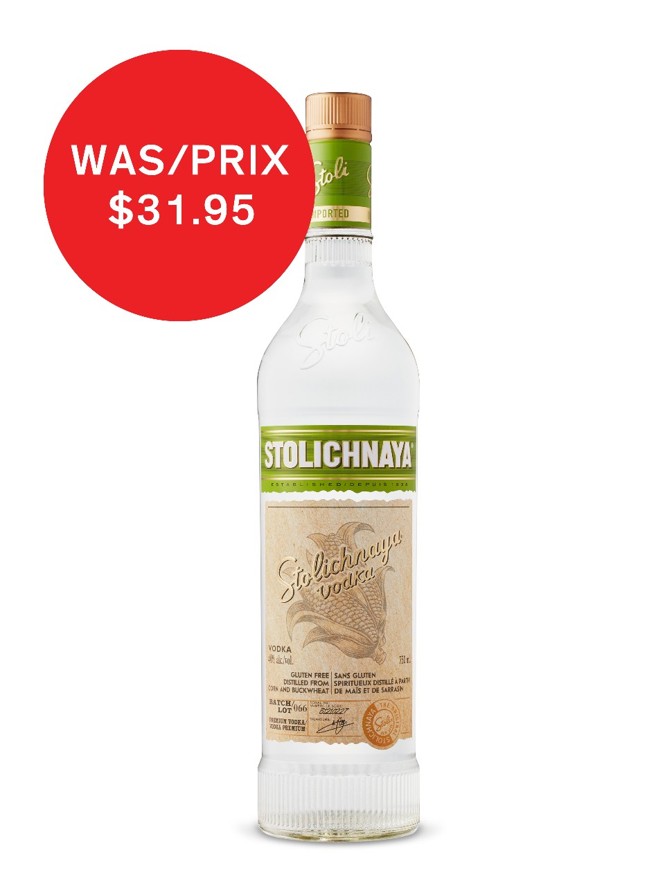 Image for Stolichnaya Gluten Free Vodka from LCBO