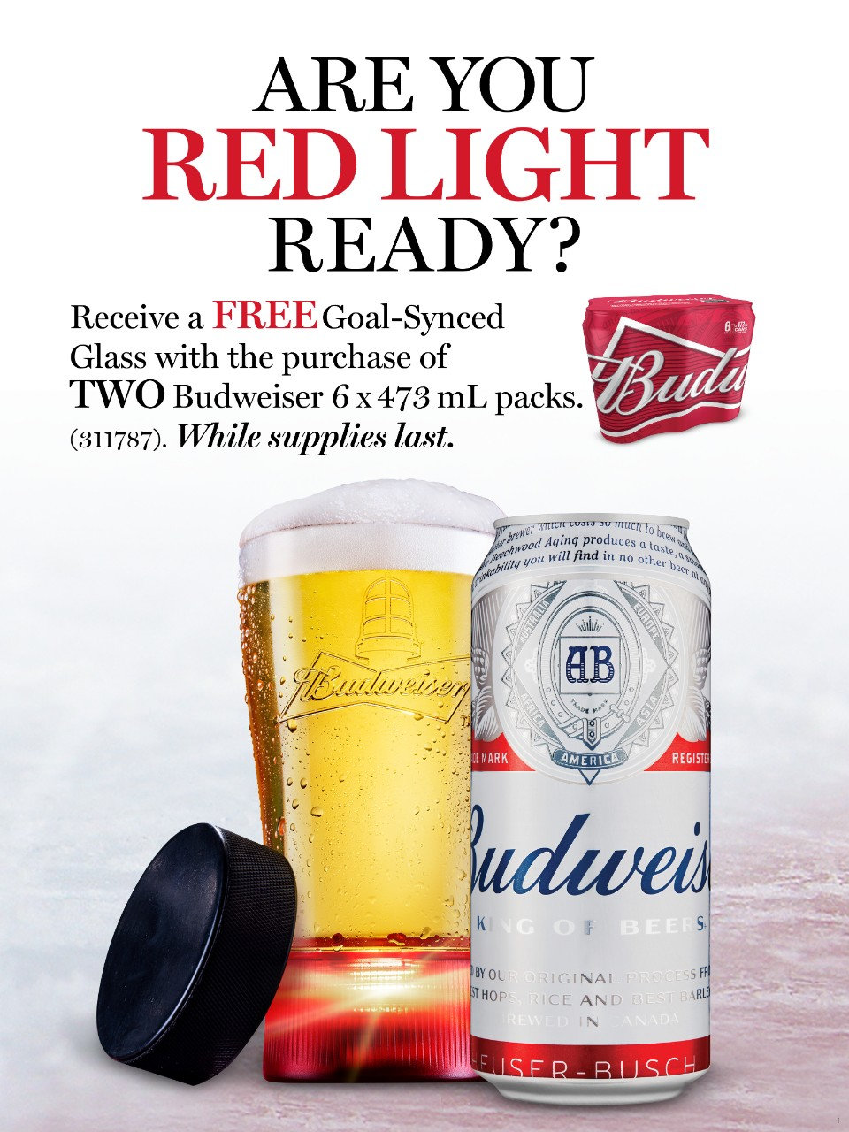 Budweiser with Goal-Synced Glass | LCBO