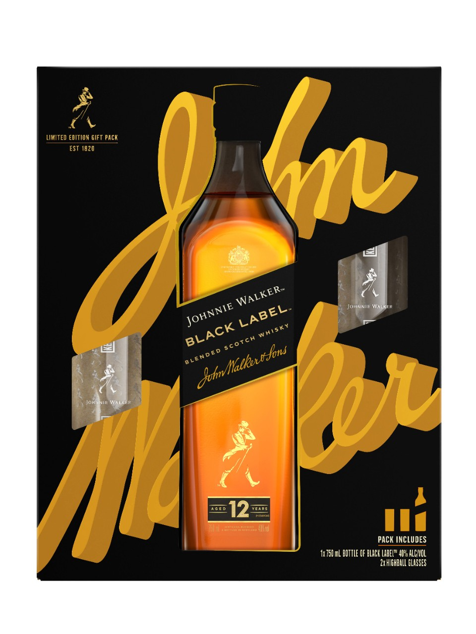 Ensemble-cadeau Whisky Johnnie Walker Black Label avec 2 verres