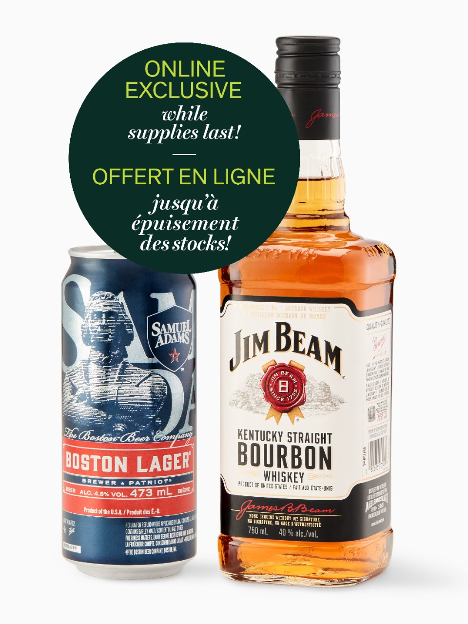 Image for Jim Beam White with FREE can of Sam Adams from LCBO
