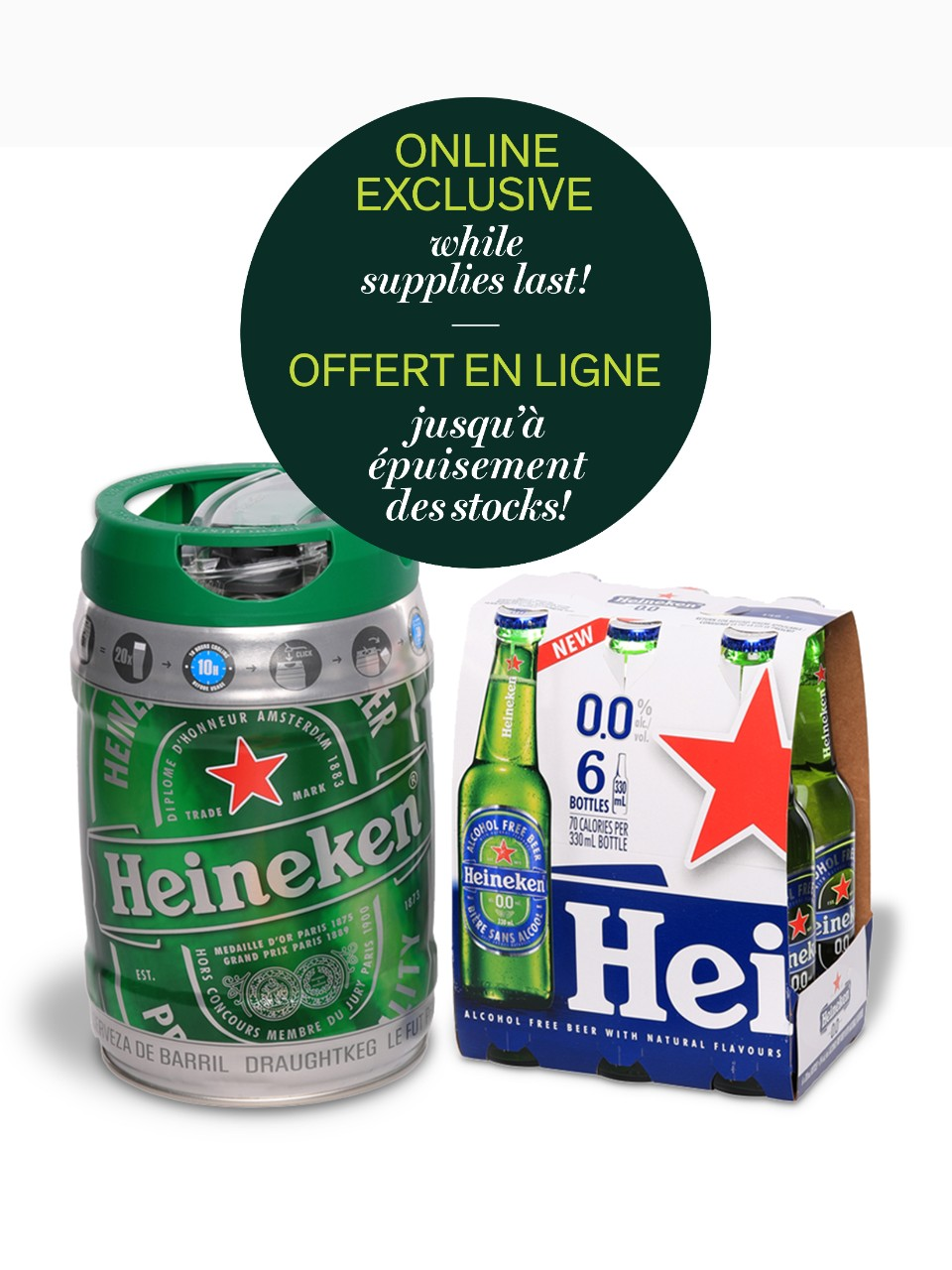 Heineken Keg With 6-Pack Heineken 0.0