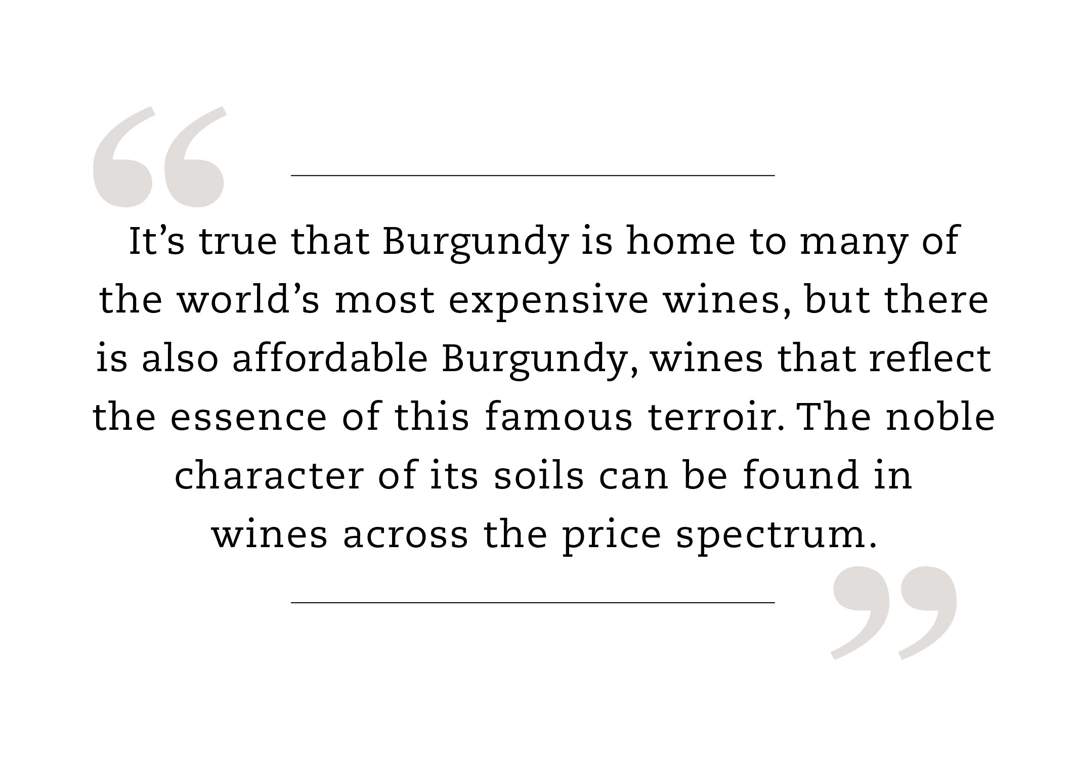 It's true that Burgundy is home to many of the world's most expensive wines, but there is also affordable Burgundy, wines that reflect the essence of this famous terroir. The noble character of its soils can be found in wines across the price spectrum.