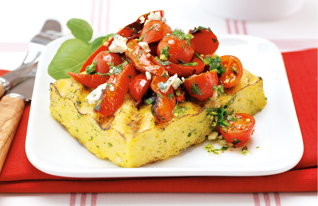 Dry Rosé + Grilled Polenta and Peppers with Grape Tomatoes