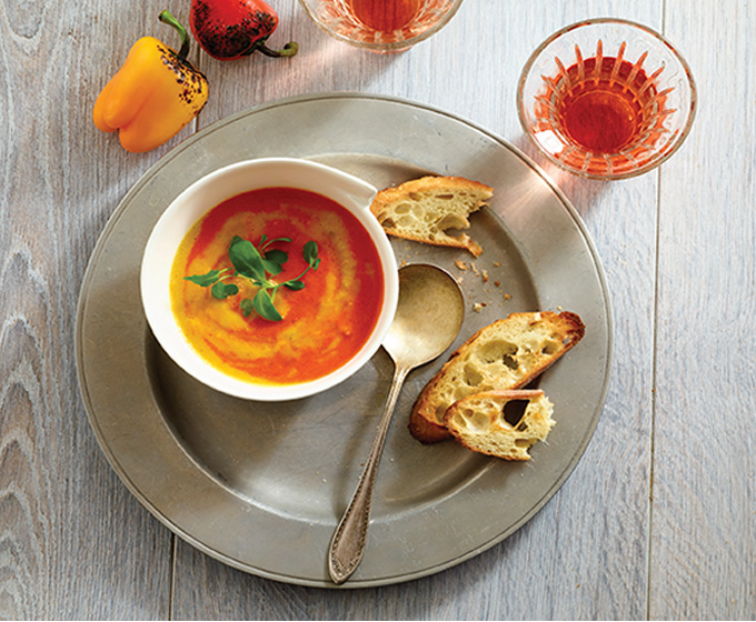 Medium Rosé + Grilled Sweet Pepper Soup with Garlic Croûtes