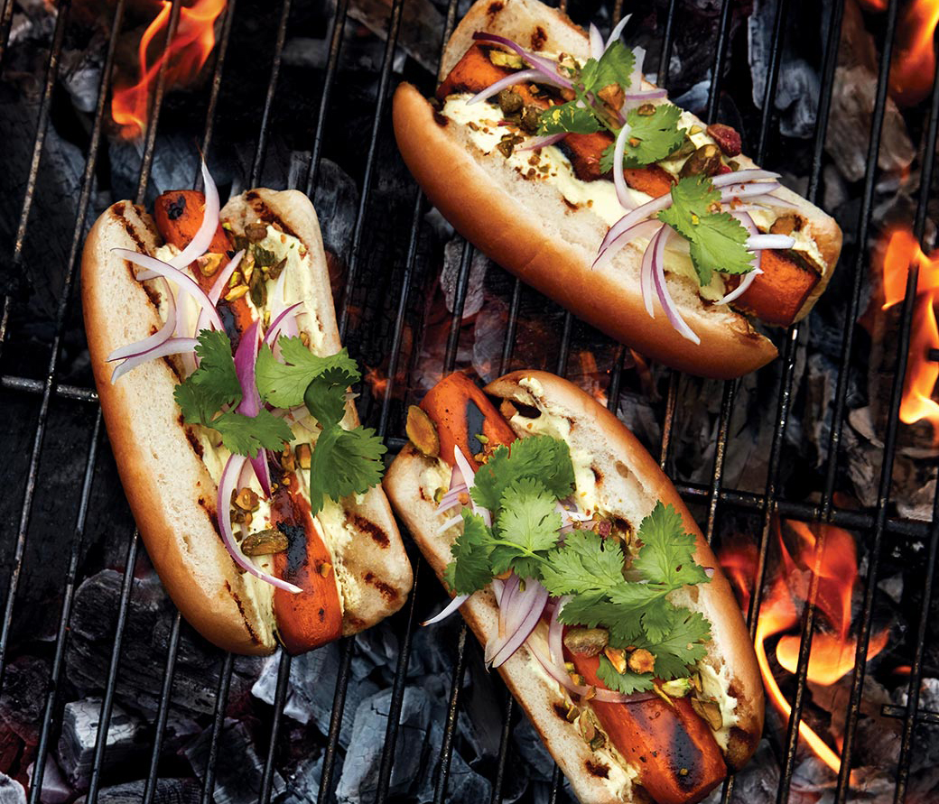 "Carrot ""Hot Dogs"" with Curried Yogurt, Pistachios & Cilantro"