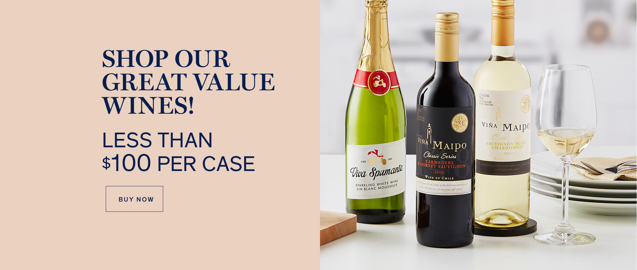 Shop our Great Value Wines  Less Than $100 Per Case BUY NOW