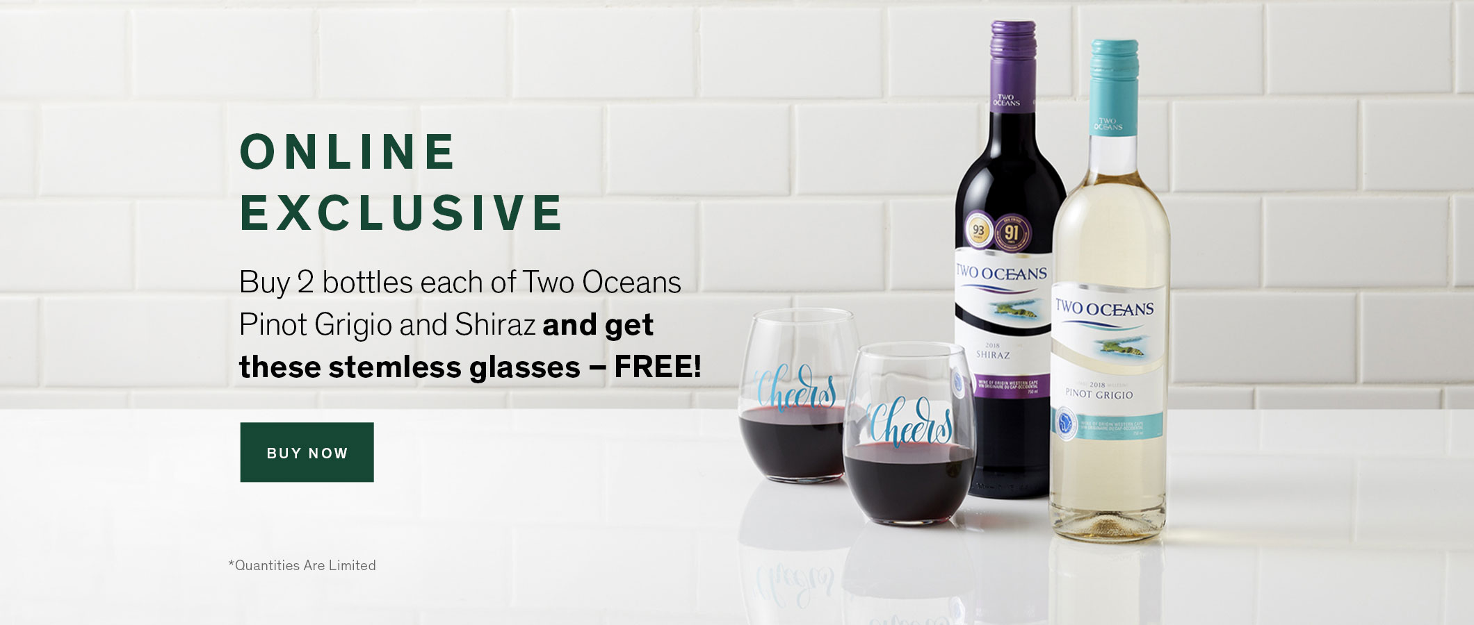 ONLINE EXCLUSIVE  Buy 2 bottles each of Two Oceans Pinot Grigio and Two Oceans Shiraz and get these stemless glasses – FREE!